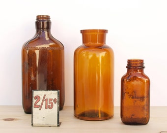 Amber Glass Bottles - Set of 3 - Instant Collection