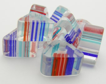 Lucite/ Acrylic Blue/Light Blue/ Red Beads 9-11 mm Triangle-R