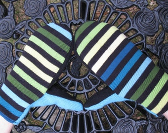 Cashmere Lined Mittens Blue Green Yellow Black Strip Retro Mod