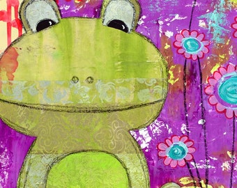 Mixed media art, frog art, fine art print, happy art, frog art print by Jennifer McCully