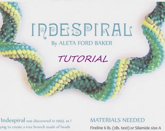 Bead Tutorial Tubular Spiral Peyote Indespiral Design Original Designer Aleta Ford Baker Instant Download Beaded Spiral Pattern