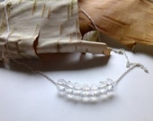Crystal  Row Necklace, Sterling Silver Chain, April Birthday, Carrie Necklace