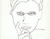 portrait pen drawing, original line drawing