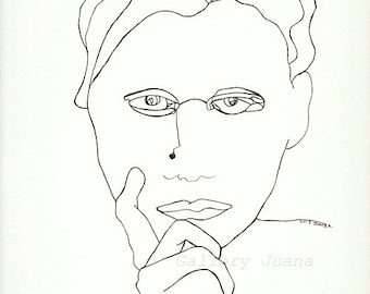 portrait pen drawing, original line drawing