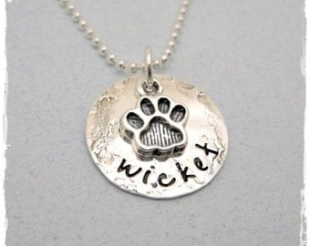 Pet Necklace - Personalized Necklace - Dog Name Necklace - Cat Name Neckace - Paw Print Charm - Fur Baby Necklace - Sterling Silver Jewelry