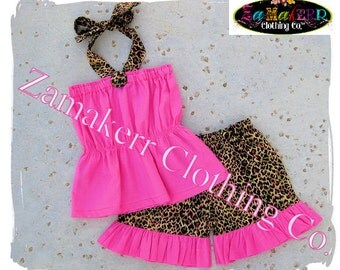 Custom Boutique Clothing Toddler Bbay Girl Leopard Outfit Set Ruffle Pant Bottom Halter 3 6 9 12 18 24 month size 2t 2 3t 3 4t 4 5t 5 6 7 8