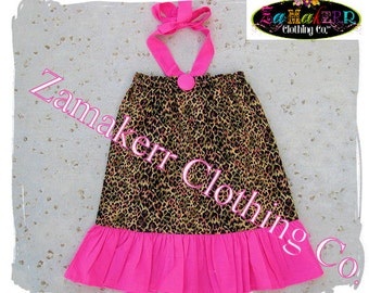 Custom Boutique Girls Pillowcase Dress Leopard and Pink Ruffle Dress Summer Halter Sizes 3mo - 8 Free Shipping