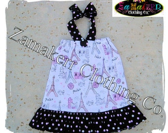 Custom Boutique Girls Pillowcase Dress Paris Diva Glitter Dot Ruffle Dress Summer Halter Sizes 3mo - 8 Free Shipping