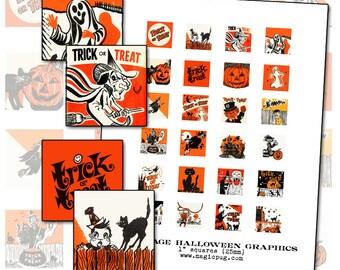Vintage Halloween Graphics digital collage sheet 1 inch square inchies one 25 mm for badge pinback button black orange cat jack o'lantern