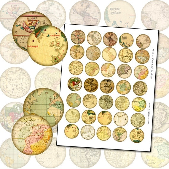 Antique Maps 1 inch digital collage sheet for altered art 25.4mm 25mm rounds