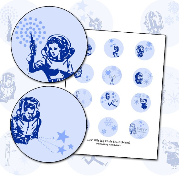1950's Space Christmas and Birthday Gift Tag 1.75 in circle digital collage sheet set alien ray gun