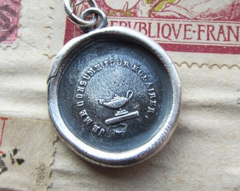 Shine - antique French wax seal necklace - Let your Light Shine - French motto wax seal jewelry in fine silver - FR495