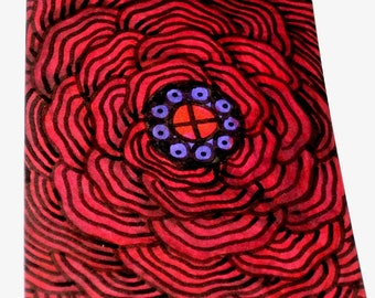 Original Drawing ACEO Red and Purple Flower Design