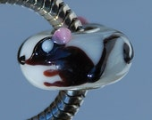 Handmade black Rat Glass Lampwork Animal Bead fit Europian charm bracelets silver plated