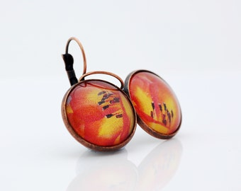 Orange Flower Earrings, Abstract Photograph, Vintage Bronze