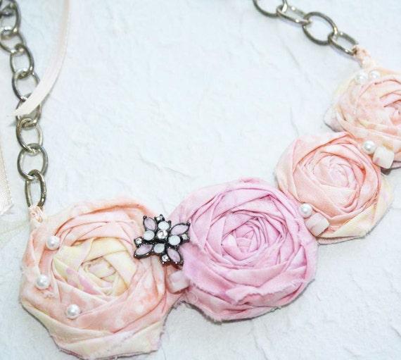 Fabric Rosette Bib Necklace BUBBLEGUM Statement or Wedding Piece Small Peach and Pink