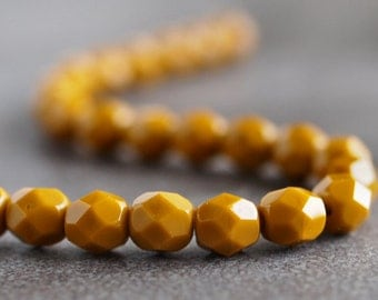 Czech Glass Bead Goldenrod Faceted 6mm Round : 25 pc