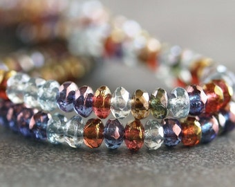 Czech Glass Bead 2x3mm Faceted Luster Mix Donut : LAST 50 pc
