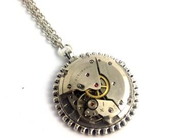 CLOSING DOWN SALE Steampunk Vintage Clockwork watch Part Movement Silver Pendant Necklace
