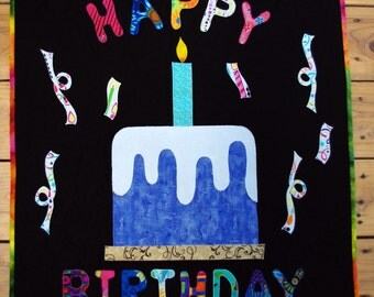 Happy Birthday Art Quilt Wall Hanging Banner, Birthday Quilt