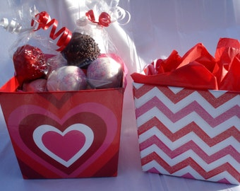 Cake Balls: Sampler Valentine's Box of Bitty Bites. Valentine's Gift. Boy or Girl. Gift under 20.00
