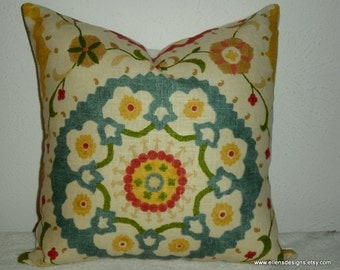 Accent-Throw-Decorative Pillow Cover-Free US Shipping- 16 inch Richloom Suzani Print in Red/Green/Yellow/Turquoise/Cream