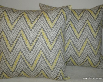 Decorative-Accent-Throw Pillow Covers-Free US Shipping- Set of Two 18 inch Dotted Zigzag Lemon Yellow, Gray, Mocha and White