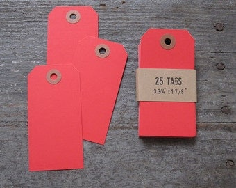25 Blank Red Tags, Small Red Parcel Tags, Wedding Tags, Scrapbook Tags, School Tags, Basket Tags, Container Tags, T002