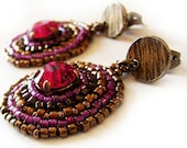 In the Moon- Fuchsia Swarovski Strass and Bronze Earrings