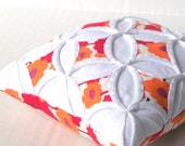 Clearance Pincushion Cathedral Window Pillow Flower Red Orange Purple - 5 Inches Square