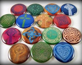 """1"""" Flat Back Multicolor Celtic Button Cabochons, 12 Count"""