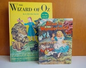 Vintage Alice in Wonderland, Through The Looking Glass, and Wizard of Oz. Mid Century Hardcover Books for Children, Illustrated Kids Books