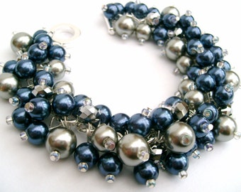 Bridesmaid Jewelry, Navy Blue and Silver Gray Pearl Beaded Bracelet, Cluster Bracelet, Pearl Bracelet, Bridesmaid Gift, Jewelry By Kim Smith