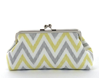 Gift for Bridesmaids, Bridesmaid Clutch, Clutch Purse,  Yellow Gray Chevron Clutch - SALE
