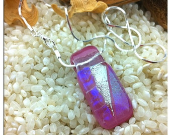 Fused Dichroic Glass Slider Pendant on a Sterling Silver Plated Chain Necklace - Dusky Pink - Iridescent Colours - Pink Blue Purple