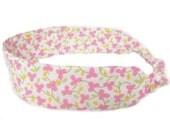 Shabby Chic Headband Fabric Headband - Adjustable Elastic - Pink Yellow Floral