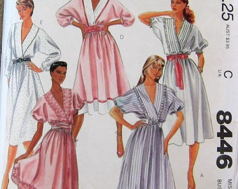 Misses Dress belt vintage 1980s McCalls sewing pattern 12 women v-neck loose fitting, uncut sewing pattern