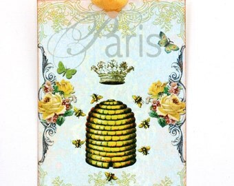 Shabby French Beehive Honey  Bees Gift Tags