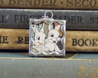 Two White Bunny Rabbits Charm - Soldered Glass Pendant made with Genuine Vintage Book Illustration - Rabbit Pendant - Altered Art Charm