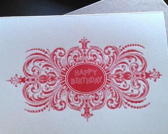 Arabesque Letterpress Birthday Card