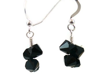Jet Black Swarovski Earrings, Sterling SIlver Earwires