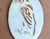 Handmade Ceramic Raven Bead - Oval Raven Bead in Neutral Stoneware