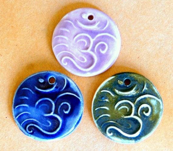 3 Handmade Porcelain Beads - Om Beads