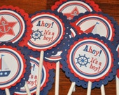 Cupcake Toppers. Nautical. Sailing. Cupcake Picks.Baby Shower. It's a boy. Ahoy. Red.Navy. Blue. Baby Sprinkle. Set of 12