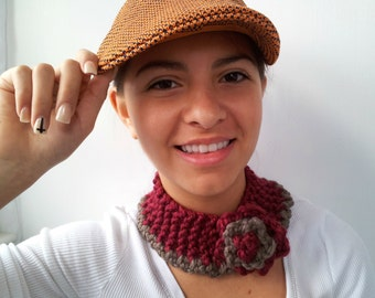 Wine and Taupe Headband or Neckwarmer. Choose Your Colors.