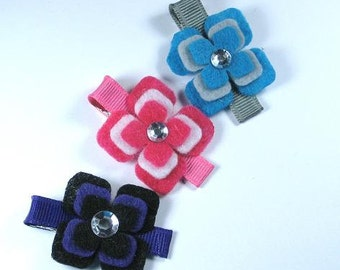Set 3 Felt Hair Clips -Flower-Purple Black Pink White Blue