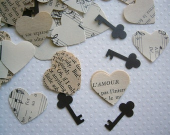 Vintage Wedding - Romantic Vintage Heart Confetti with Keys