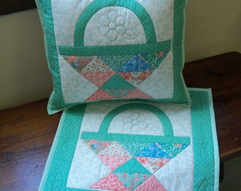Two Quilted pillow covers in spring colors