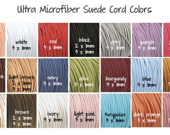 2x1, 3 x 1mm Ultra Microfiber Faux Leather Suede Necklace Cord Assorted Colors 50 Feet YOU PICK