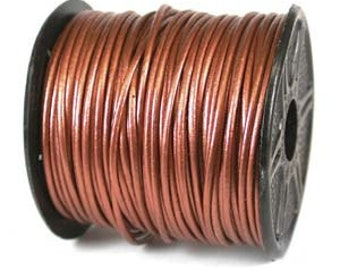 Genuine India LEATHER Cord 2mm METALLIC COPPER 25 Yard Spool 420454-sp